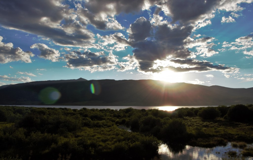 Sunset behind the mountains at Taylor Reservoir in Gunnison-Crested Butte, Colorado